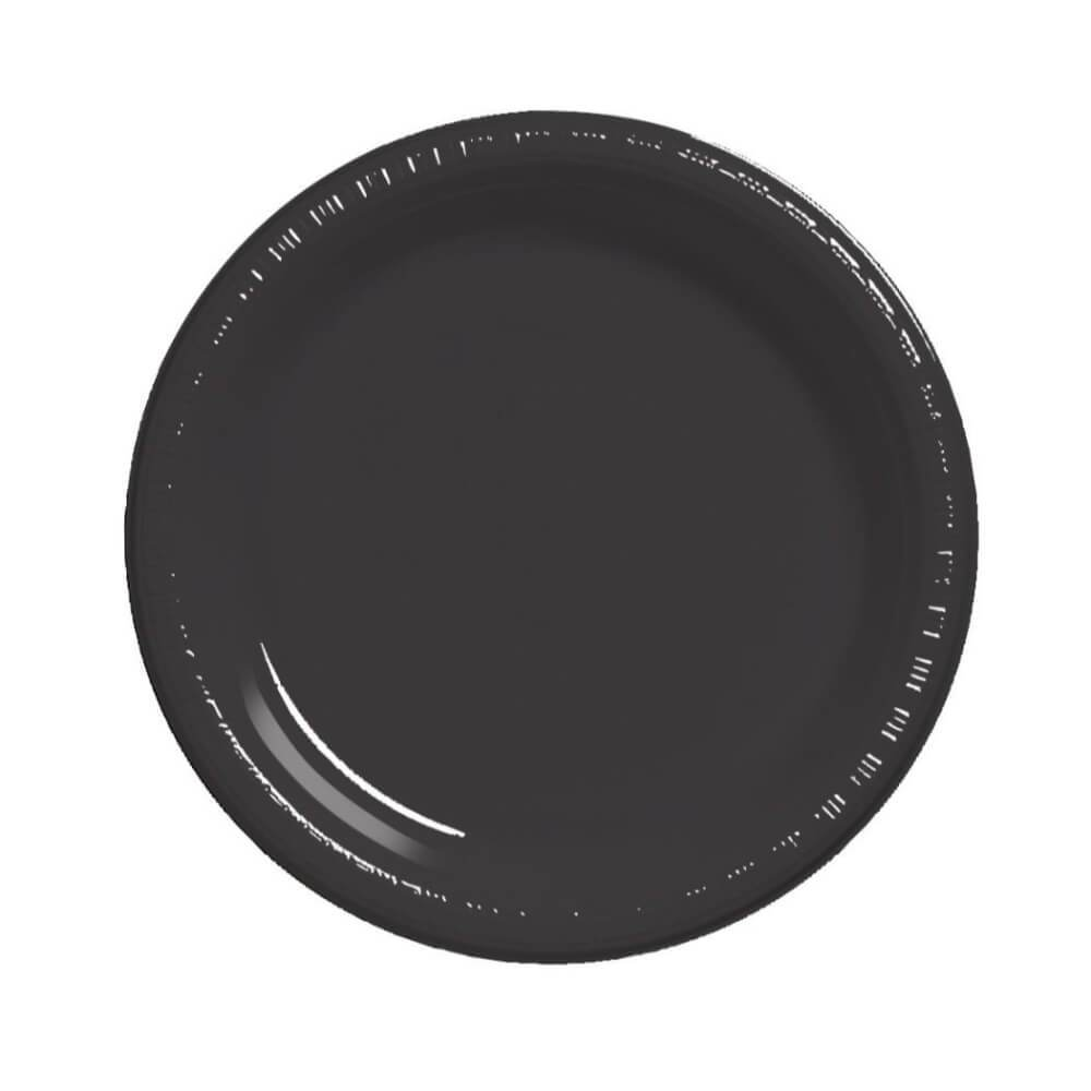 Black Velvet Plastic Dinner Plates 9in 50ct