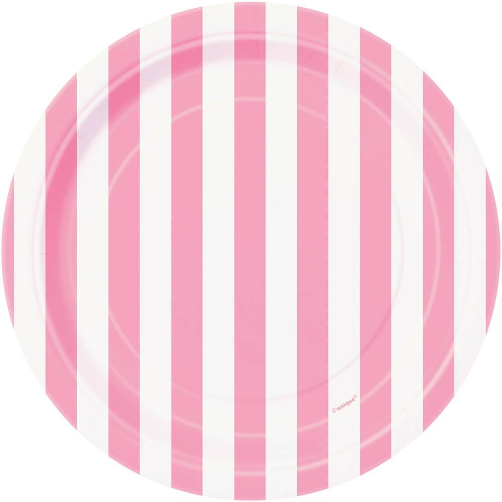Round Dessert Plates 7in 8ct, Lovely Pink Stripes