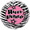 Zebra Passion Pink Round Foil Balloon, 18in