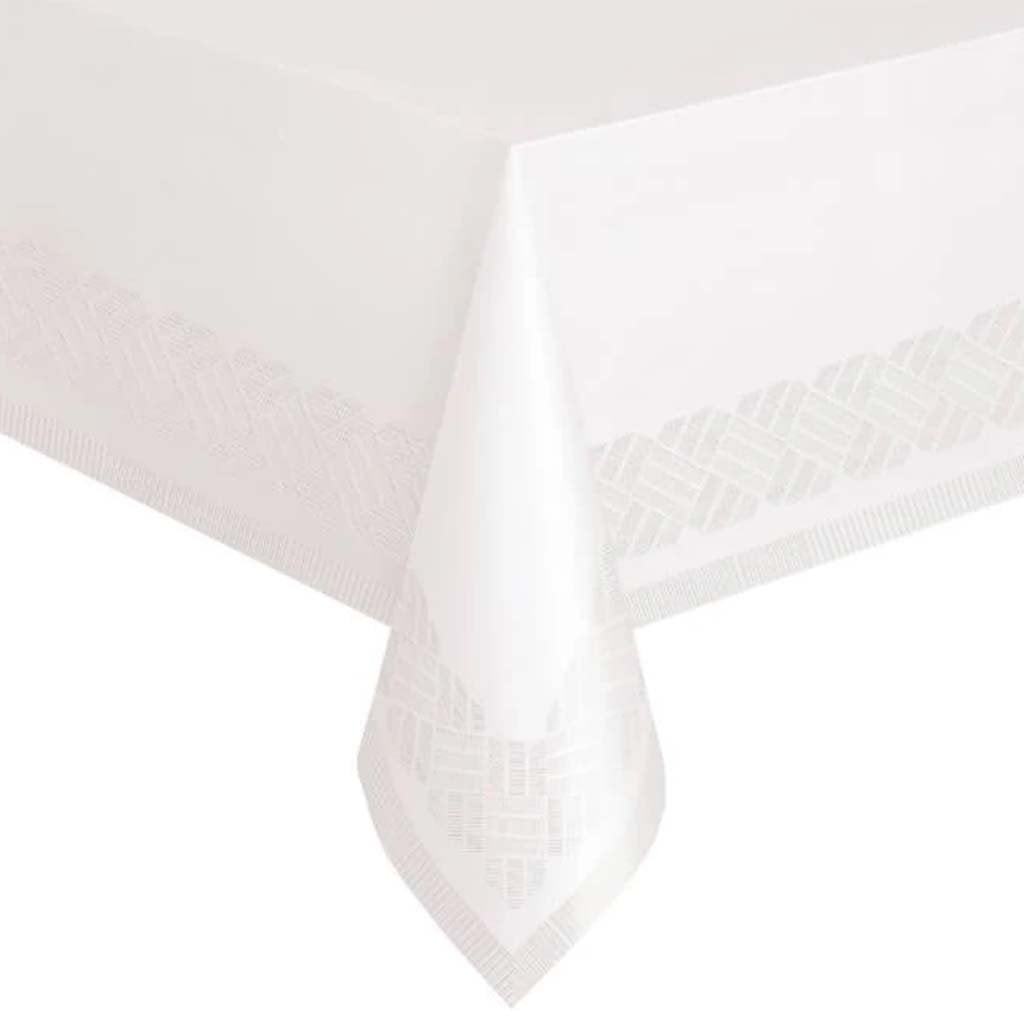 Rectangular Tablecover 54in x 108in, White Solid Paper-Poly