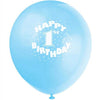 Happy 1st Birthday Blue Latex Balloons 12in, 6ct