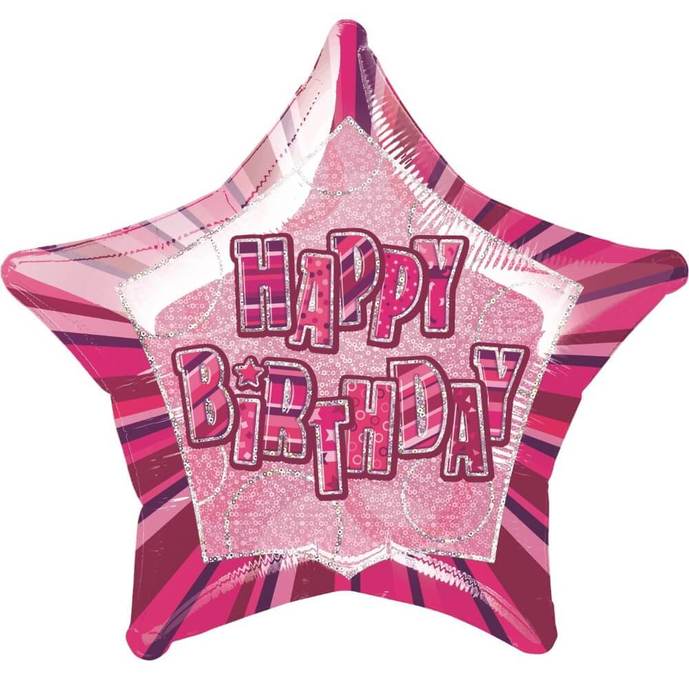 Happy Birthday Pink Star Prism Foil Balloon, 20in