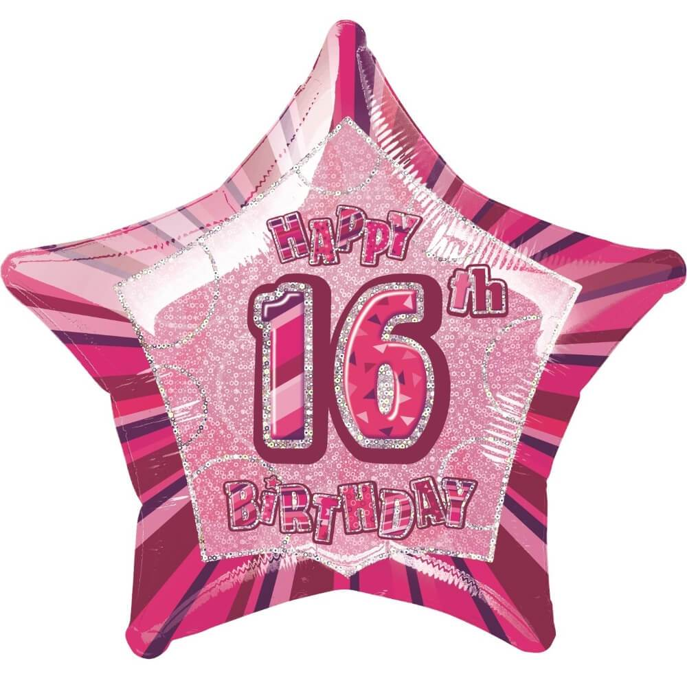 Pink Star Prism Age 16 Foil Balloon, 20in