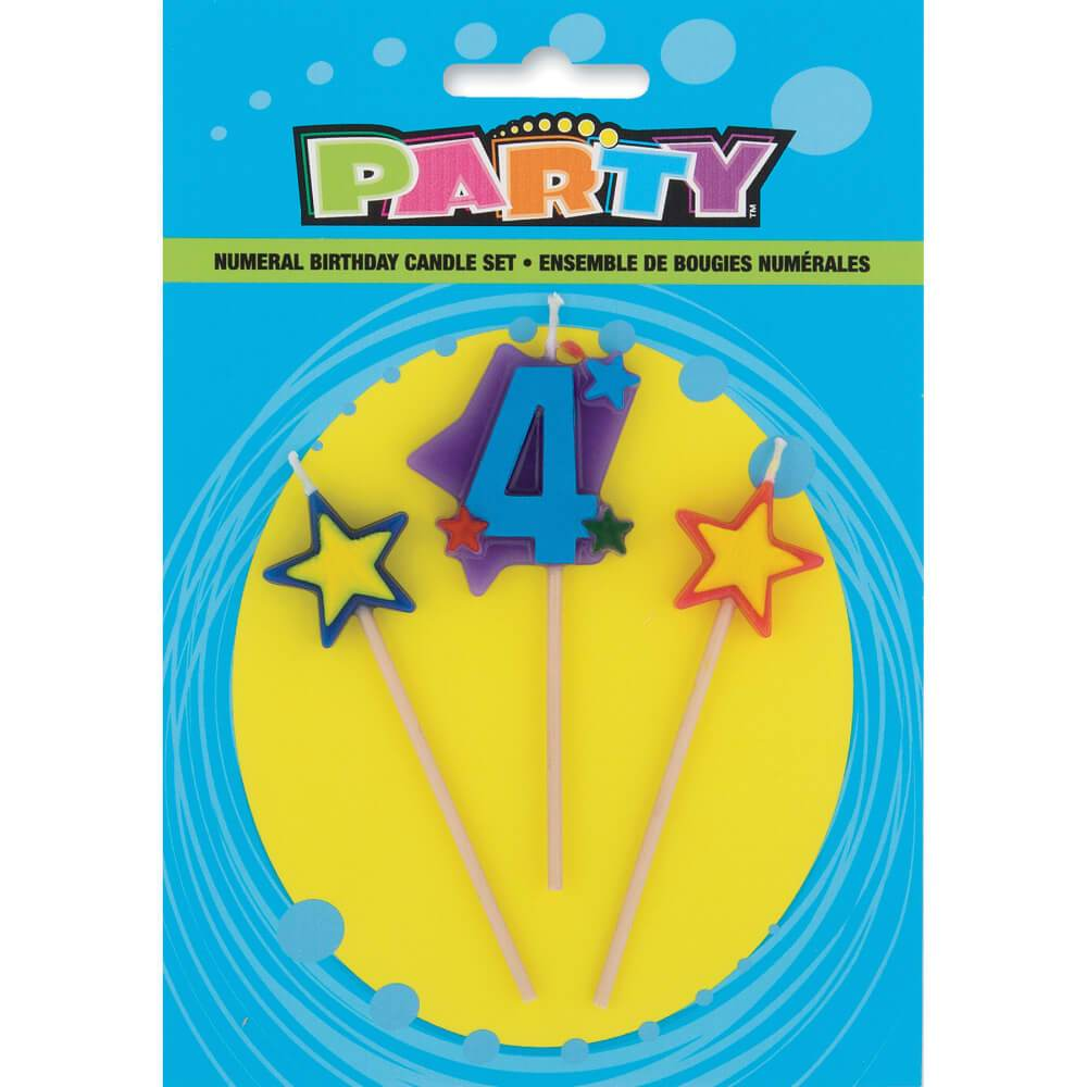 Number 4 Star Birthday Candles Set