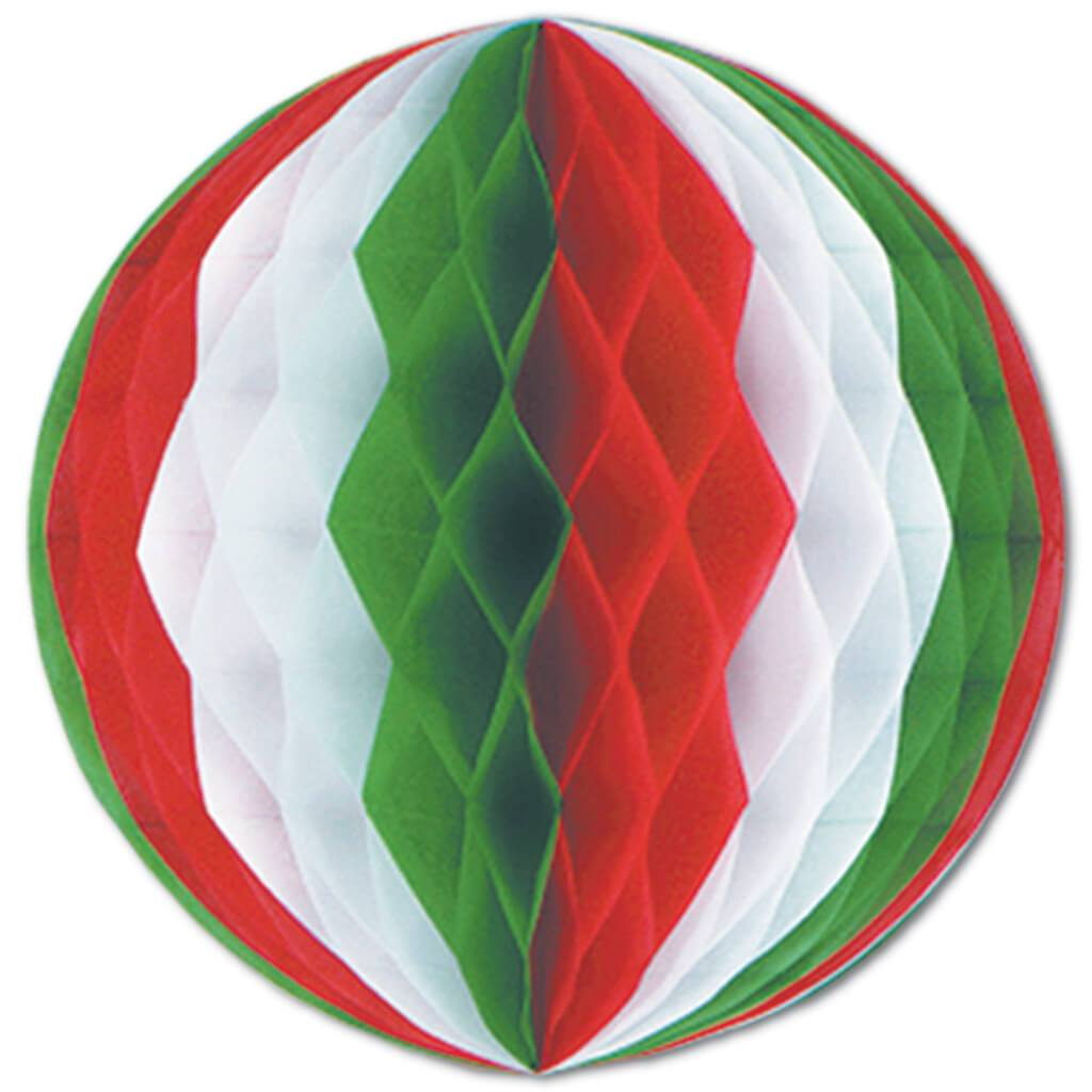 Tissue Ball 12in Red, White, Green