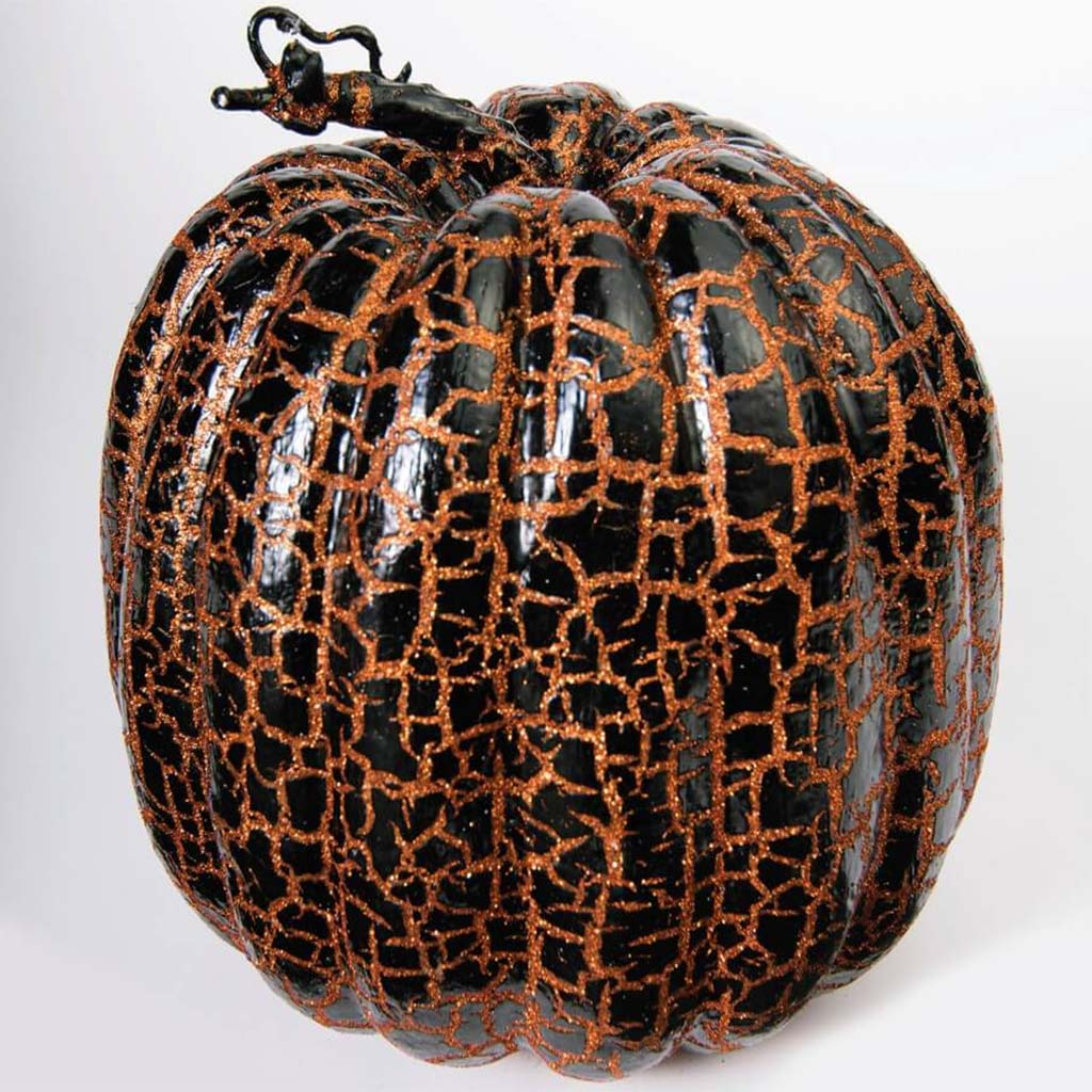 9in Crackle Pumpkin Orange Black