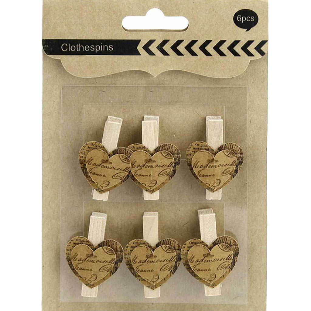 Heart Decorative Clothespin 1in x 1.5in