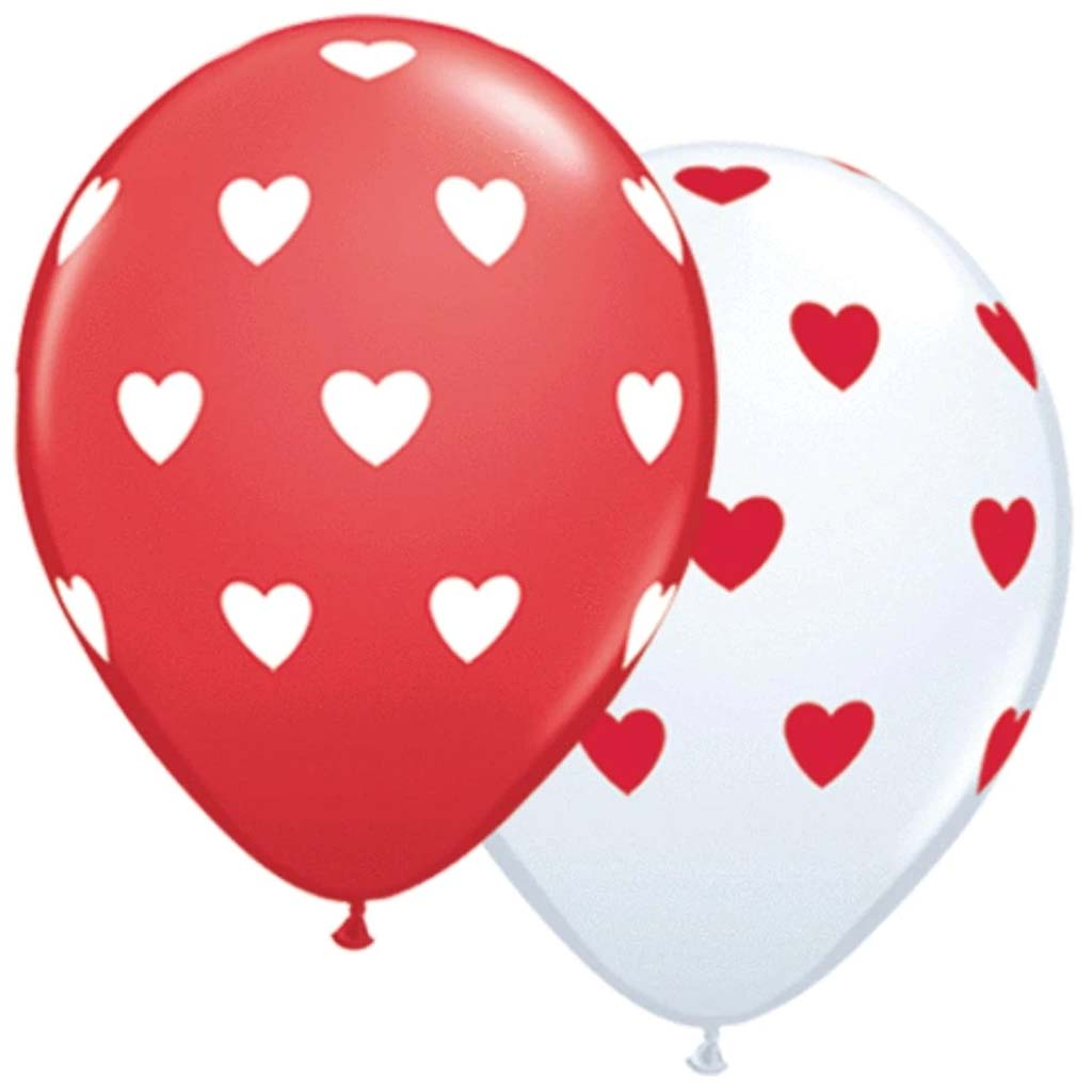 Big Hearts Red & White Assorted 11in