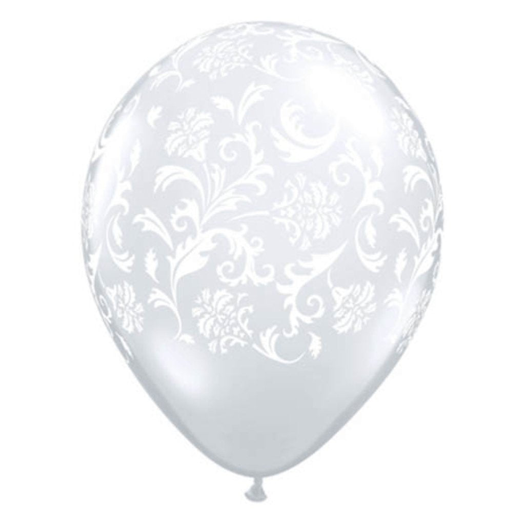 Latex Balloon Damask Around Diamond Clear 11in