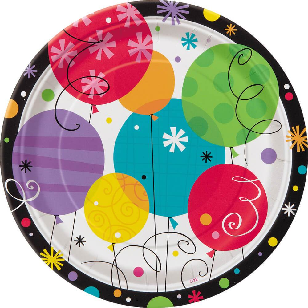 Round Dessert Plates 7in 8ct, Breezy Birthday