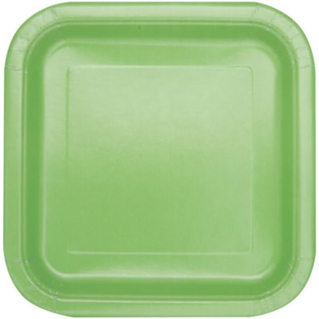 Apple Green Solid Square Dinner Plates 9in 14ct