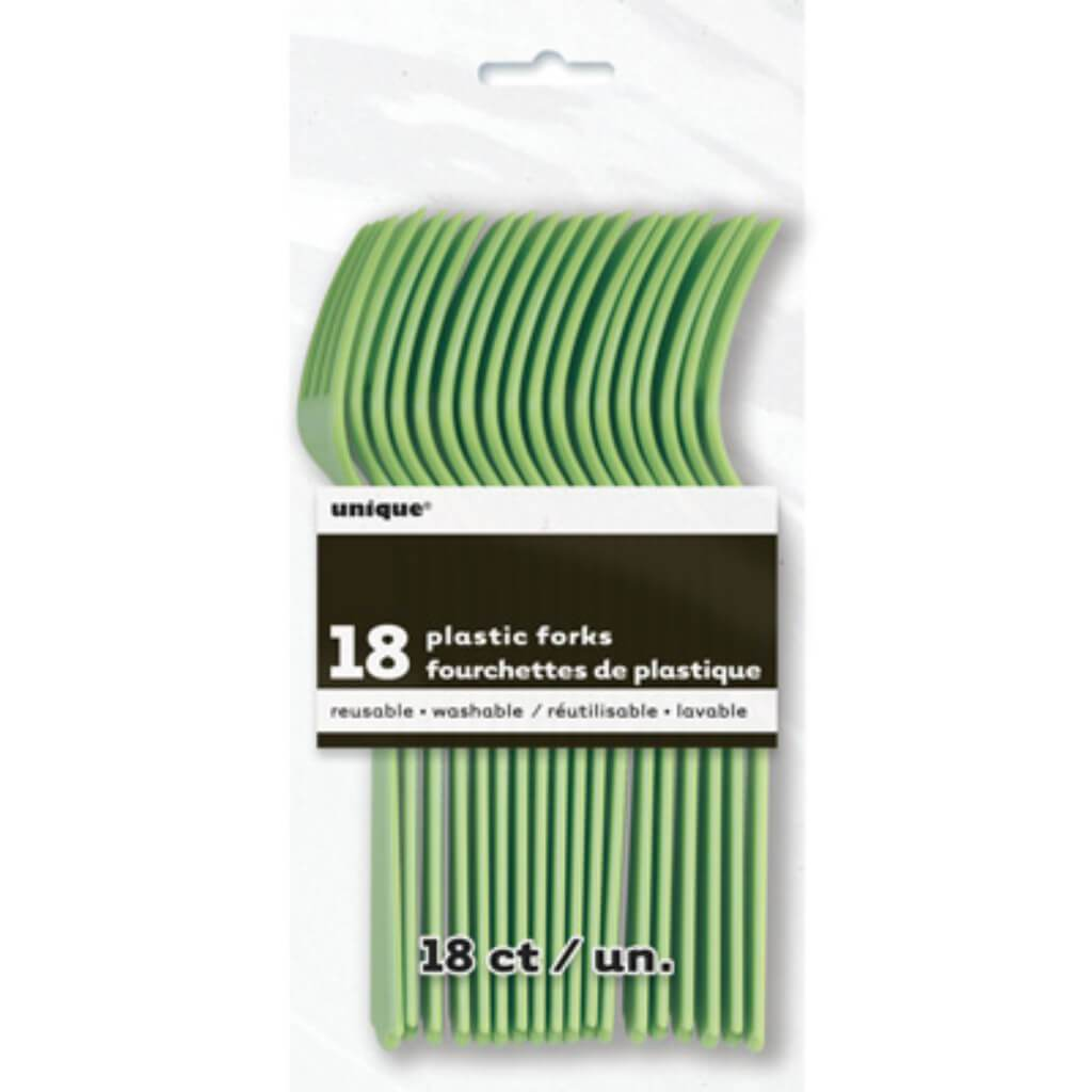 Apple Green Solid Plastic Forks 18ct,