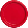 Solid Round Dessert Plates 7in 8ct, Ruby Red
