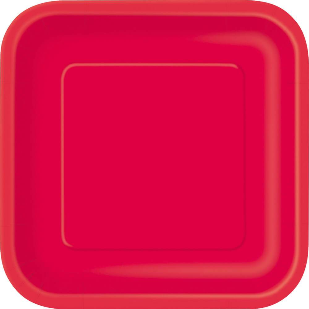 Ruby Red Solid Square Dinner Plates 9in 14ct,