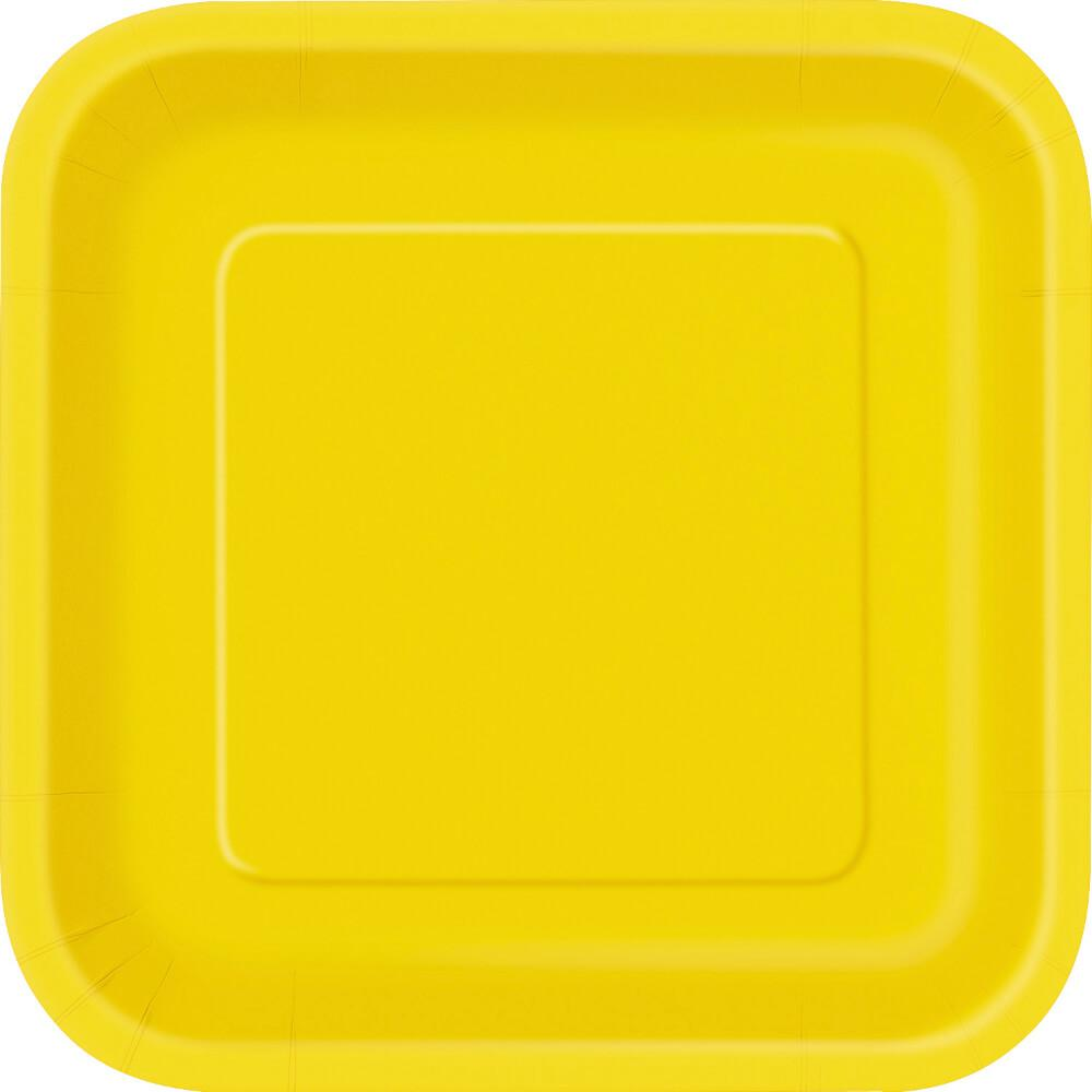 Square Dinner Plates 9in 14ct, Sunflower Yellow Solid
