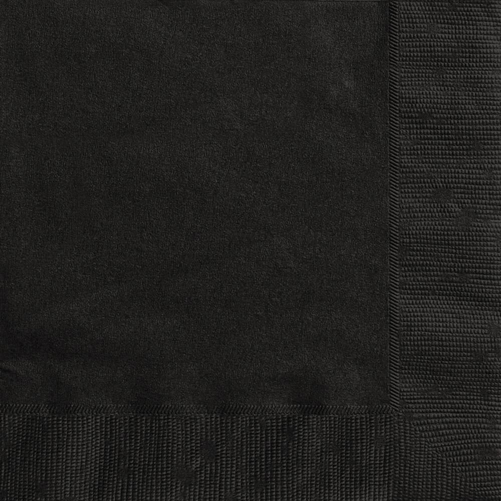 Midnight Black Solid Beverage Napkins, 20ct