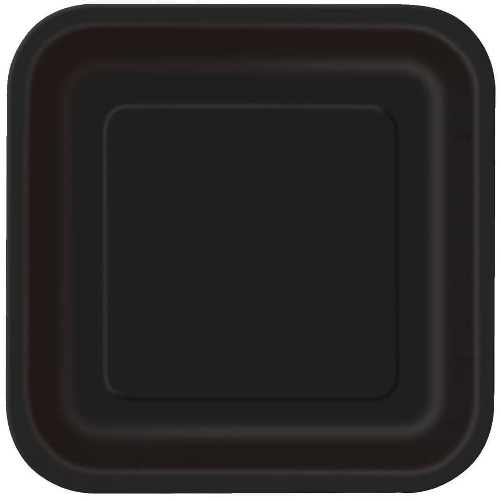 Black Solid Square Dessert Plates 7in, 16ct