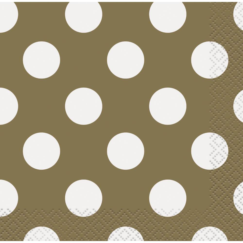 Gold Dots Beverage Napkins, 16ct