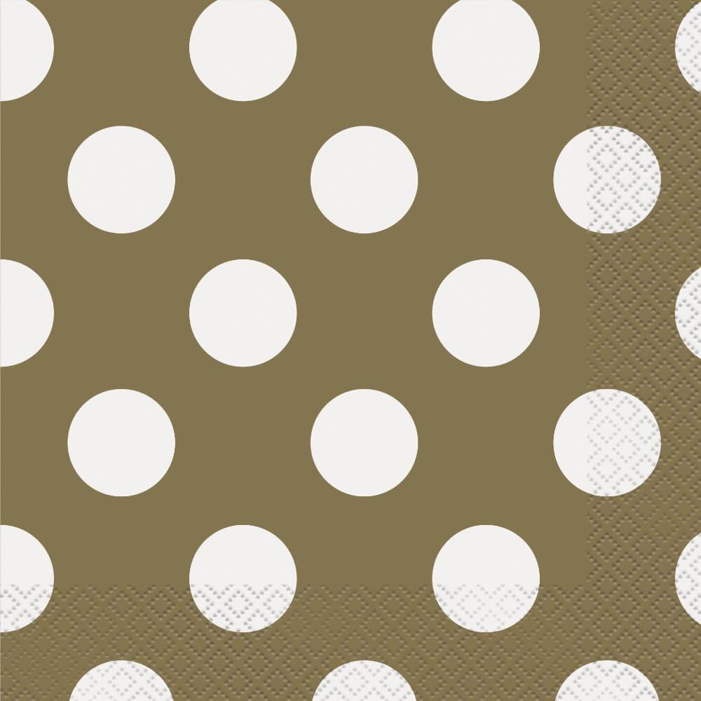 Gold Dots Lunch Napkins, 16ct