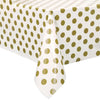 Gold Dots Rectangular Plastic Tablecover 54in x 108in