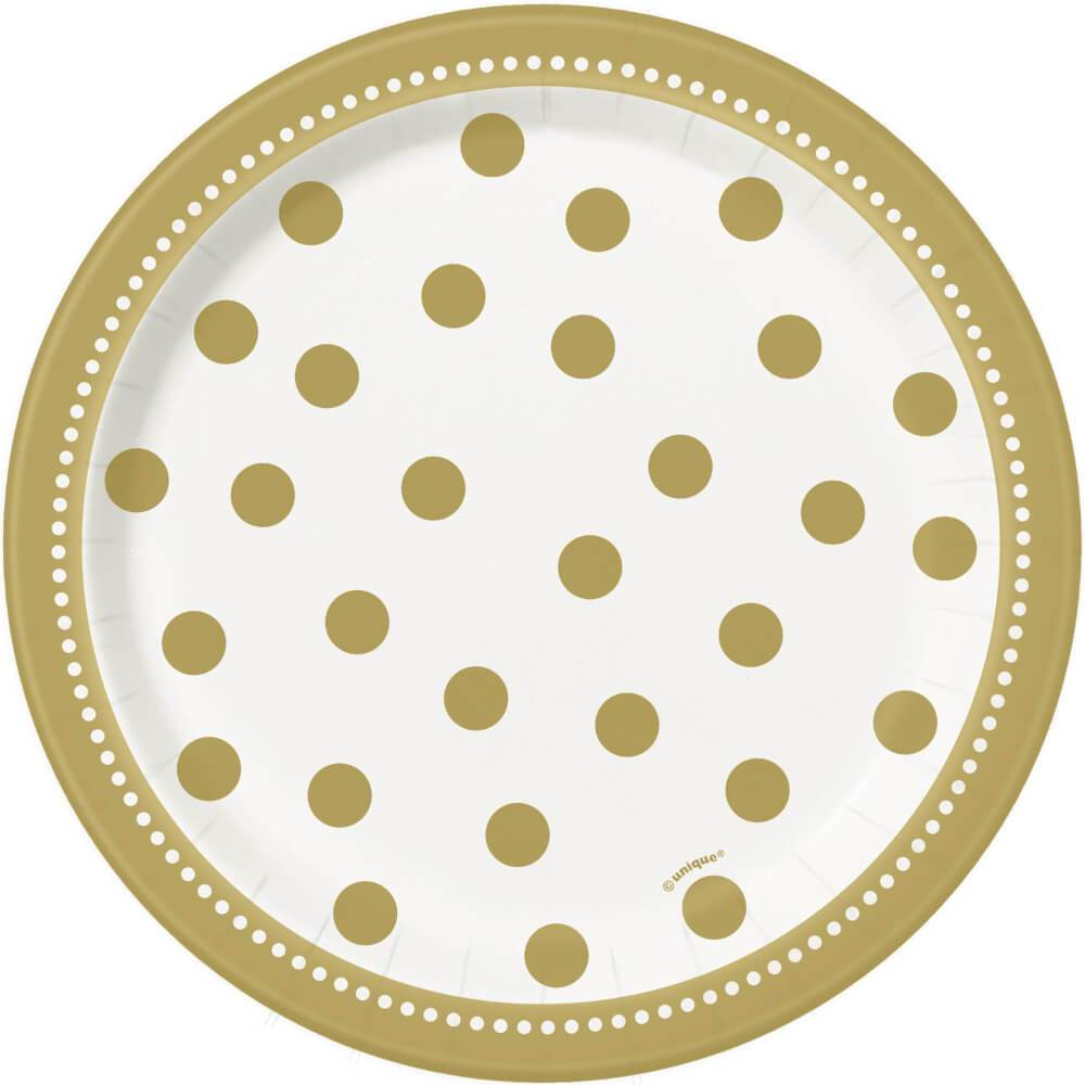 Round Dessert Plates 7in 8ct, Golden Birthday