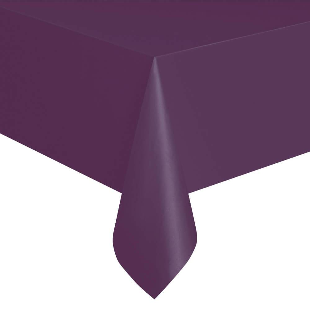 Rectangular Plastic Tablecover 54in x 108in, Deep Purple Solid