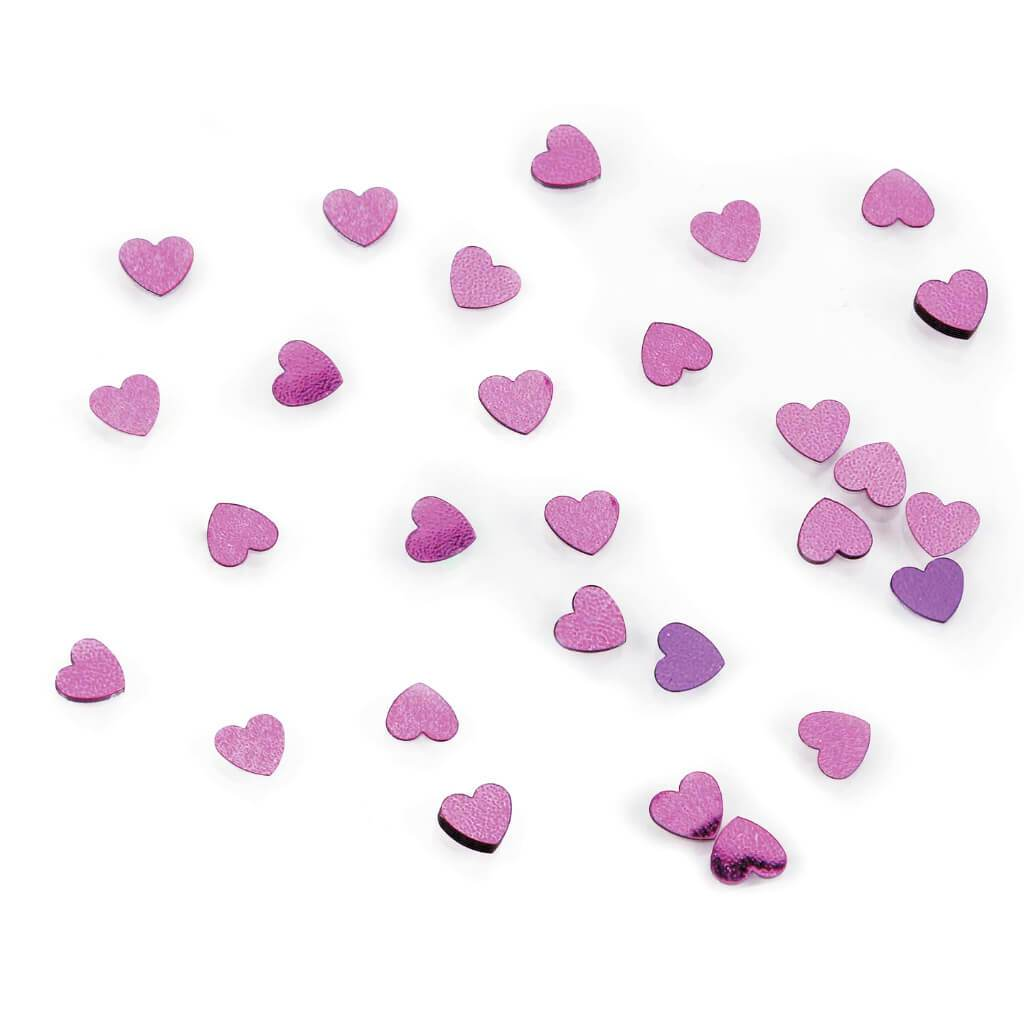 CONFETTI HEARTS 6MM 14G HOT PINK