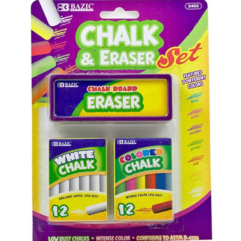 12 Colored and 12 White Chalk with Eraser Set