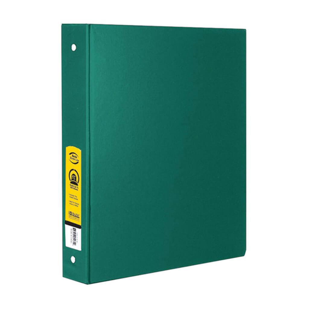 3 Ring Binder with 2 Pockets 1.5in Green