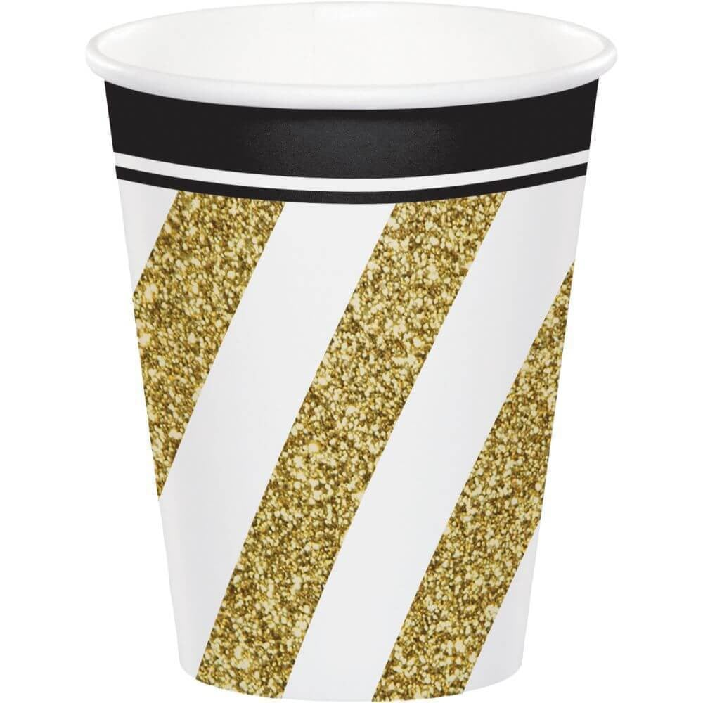 Black & Gold, Paper Cups 9oz 8ct