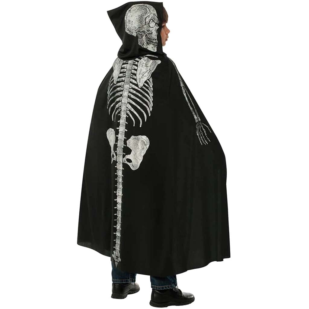 Hooded Skeleton Child Black Cape