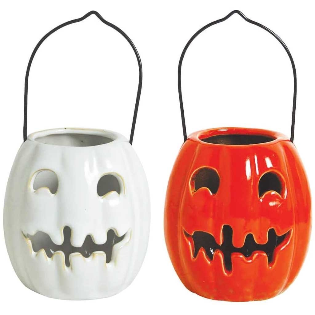 Candle Holder Ceramic Pumpkin