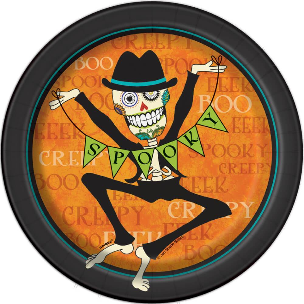 Day of the Dead Round Dessert Plates 7in 8ct,