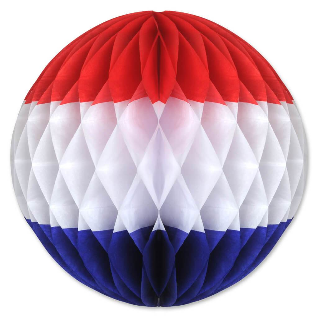 Tissue Ball 12in Red, White, Blue