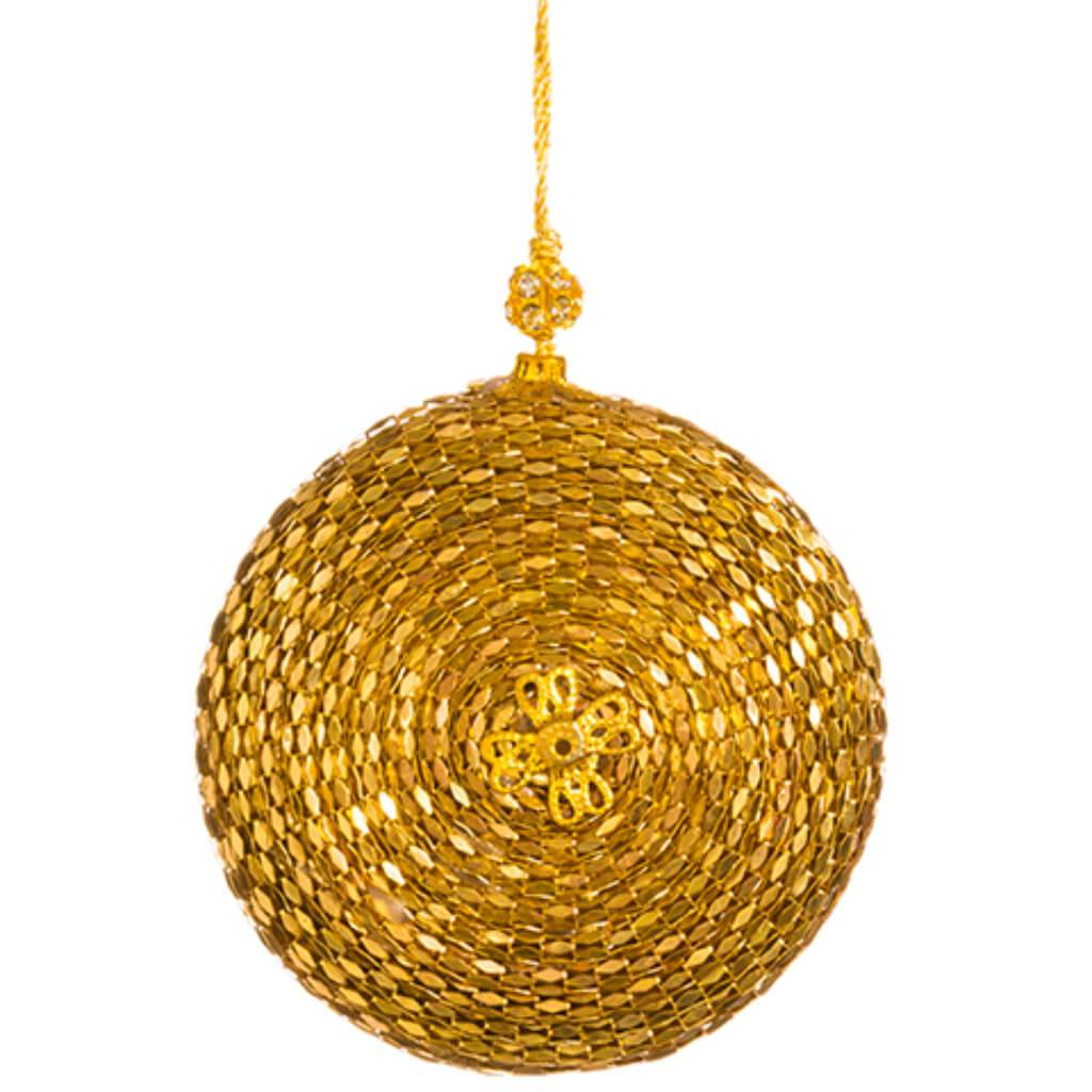 Beaded Flat Ball Ornament