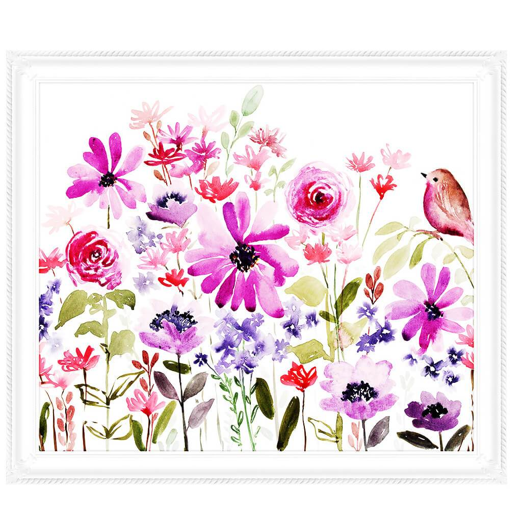 Flowers And Birds Pink & Purple On Canvas