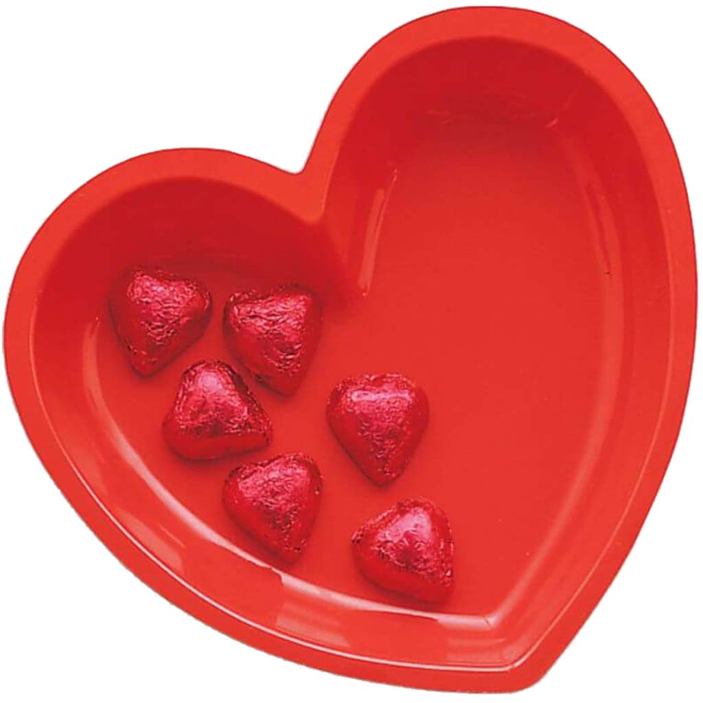 Heart Plastic Tray 11in, Red
