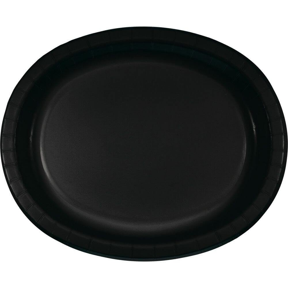 Black Velvet Oval Paper Platter 10in x 12in 8ct