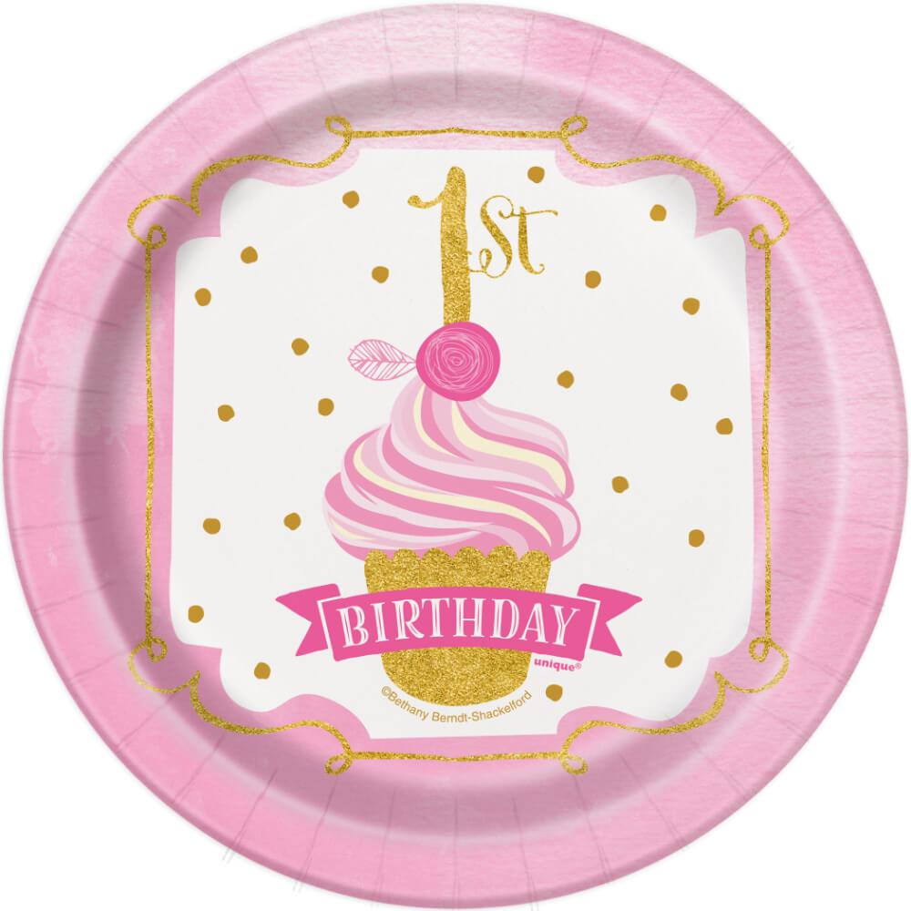 Round Dessert Plates 7in 8ct, Pink & Gold First Birthday