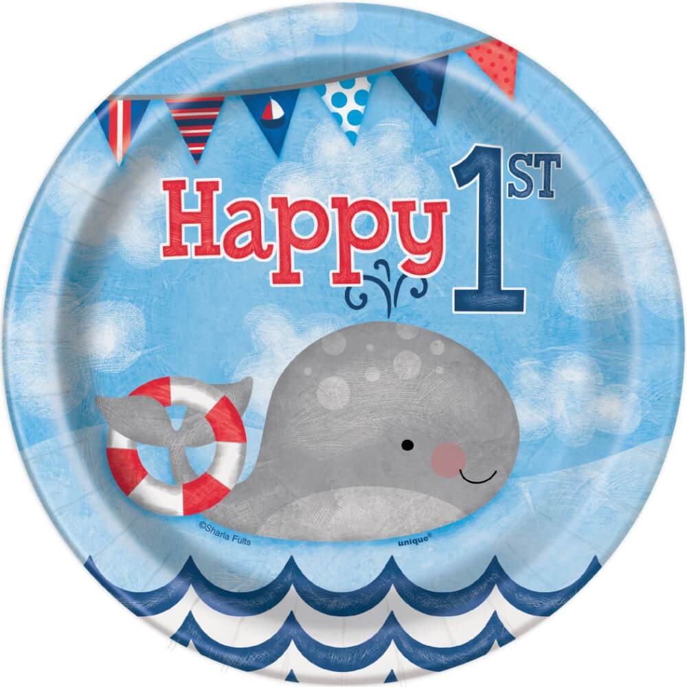 Round Dessert Plates 7in 8ct, Nautical First Birthday