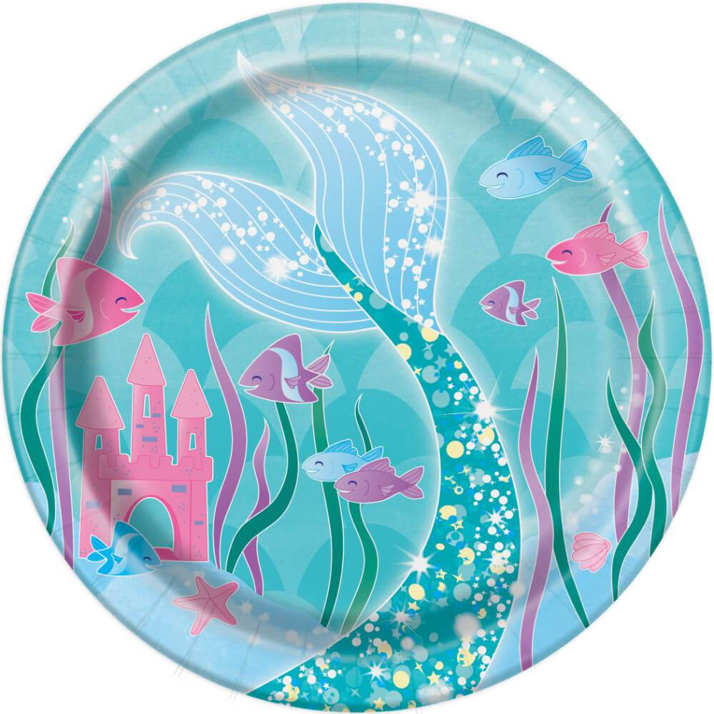 Round Dessert Plates 7in 8ct, Mermaid