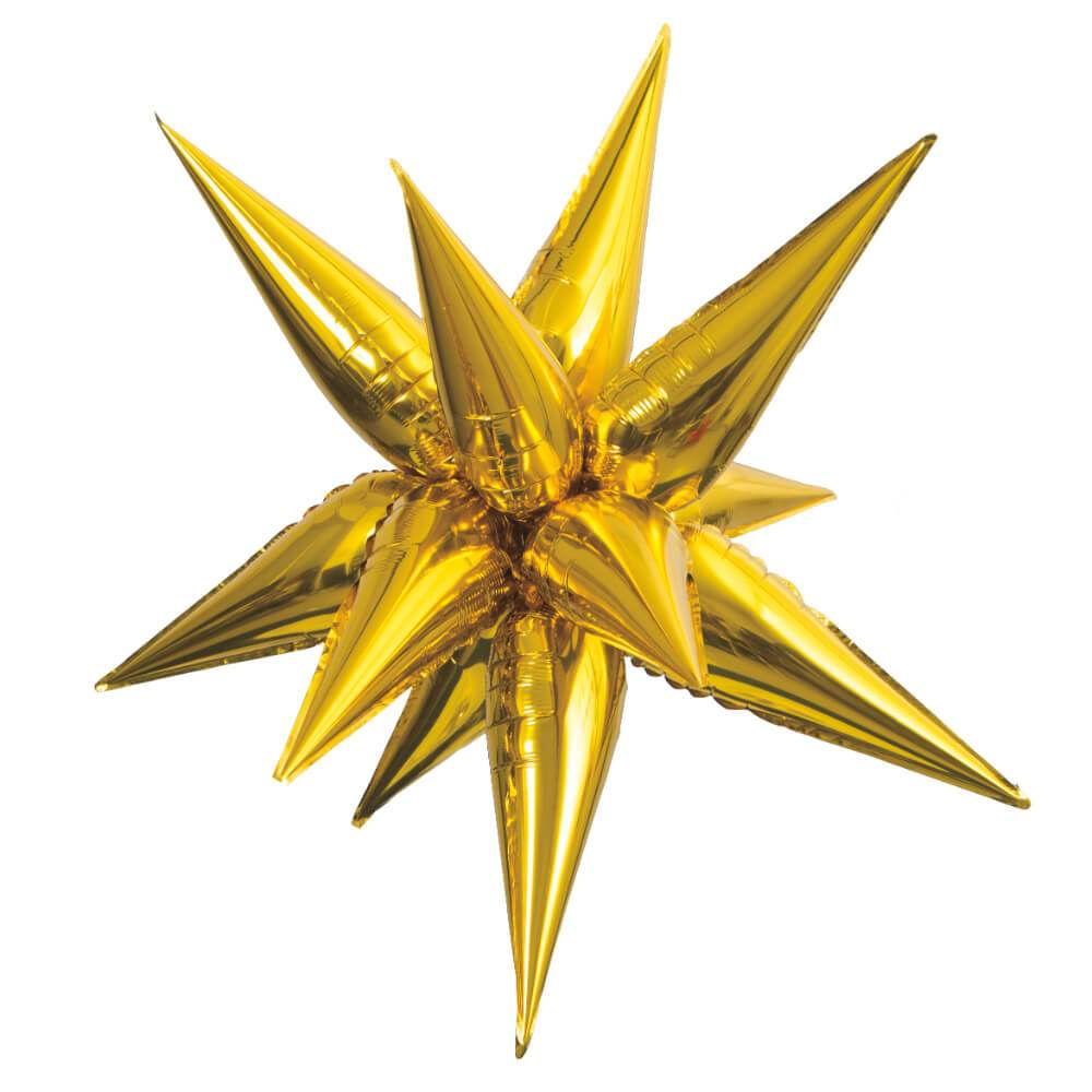 Gold 12 Point 3D Star Foil Balloon, 40in