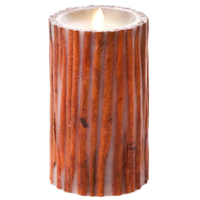 Luminara Flameless Pillar Candle Embedded with Cinnamon Sticks 7in