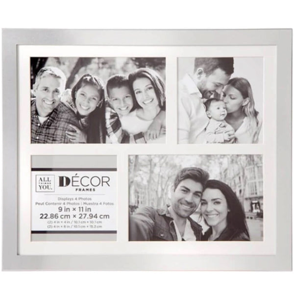 All Things You™ 4-Opening Silver Collage Frame w/Matting - Creative ...