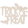 Laser Cut Trick or Treat Wood Cutout Unfinished 5 x 3.25 inches
