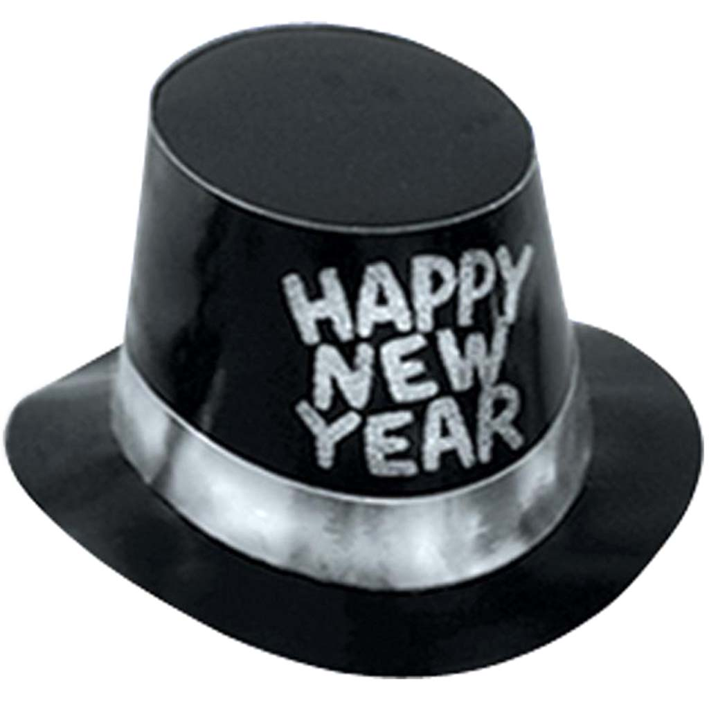 Black Hi-Hat with Glittered Happy New Year