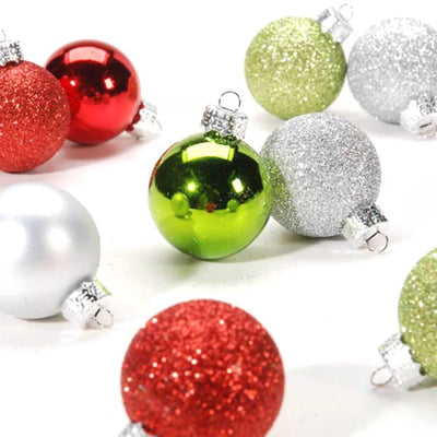 Red Green Silver Ball Ornaments 9pcs