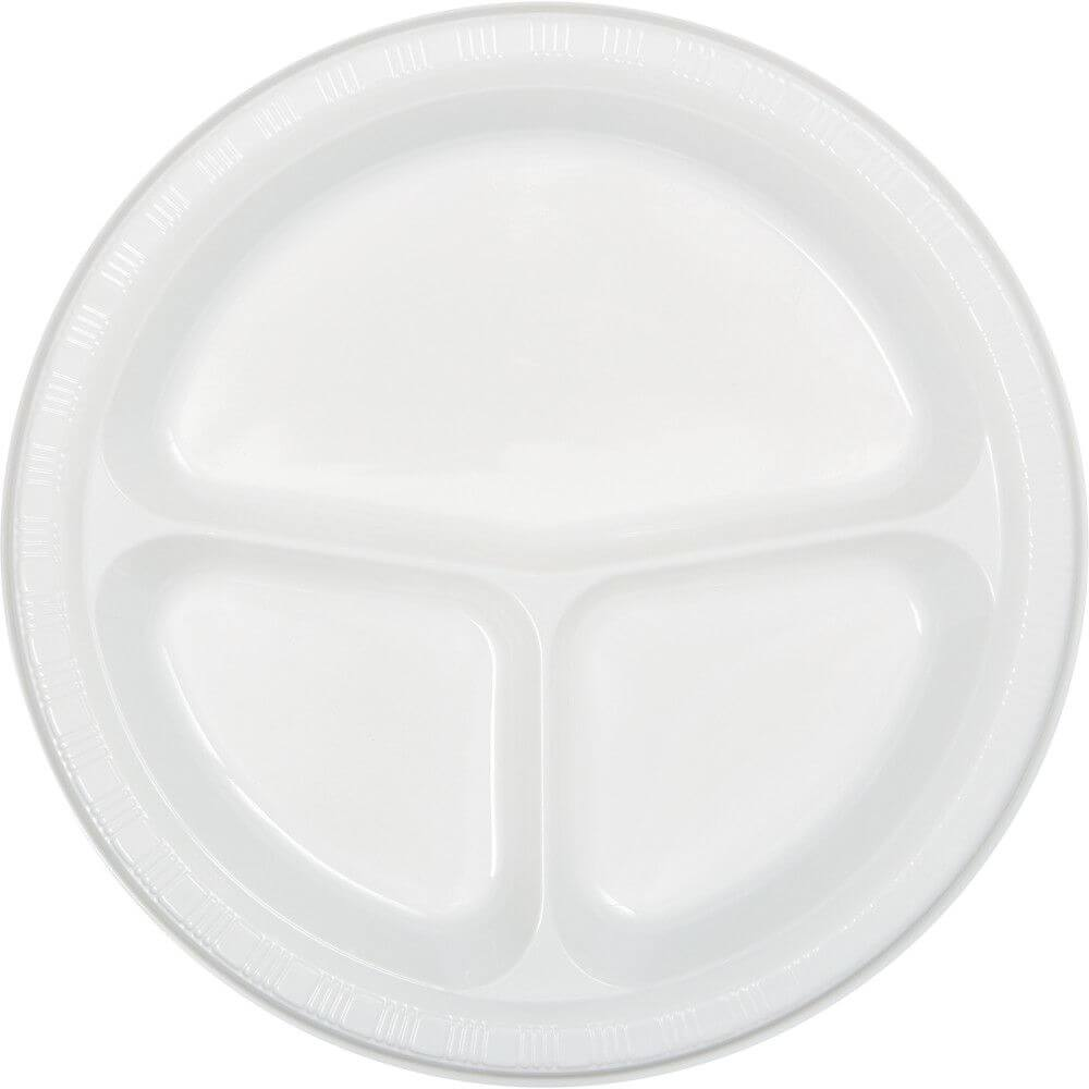 3 Compartment Plastic Plate 10in 20ct, White