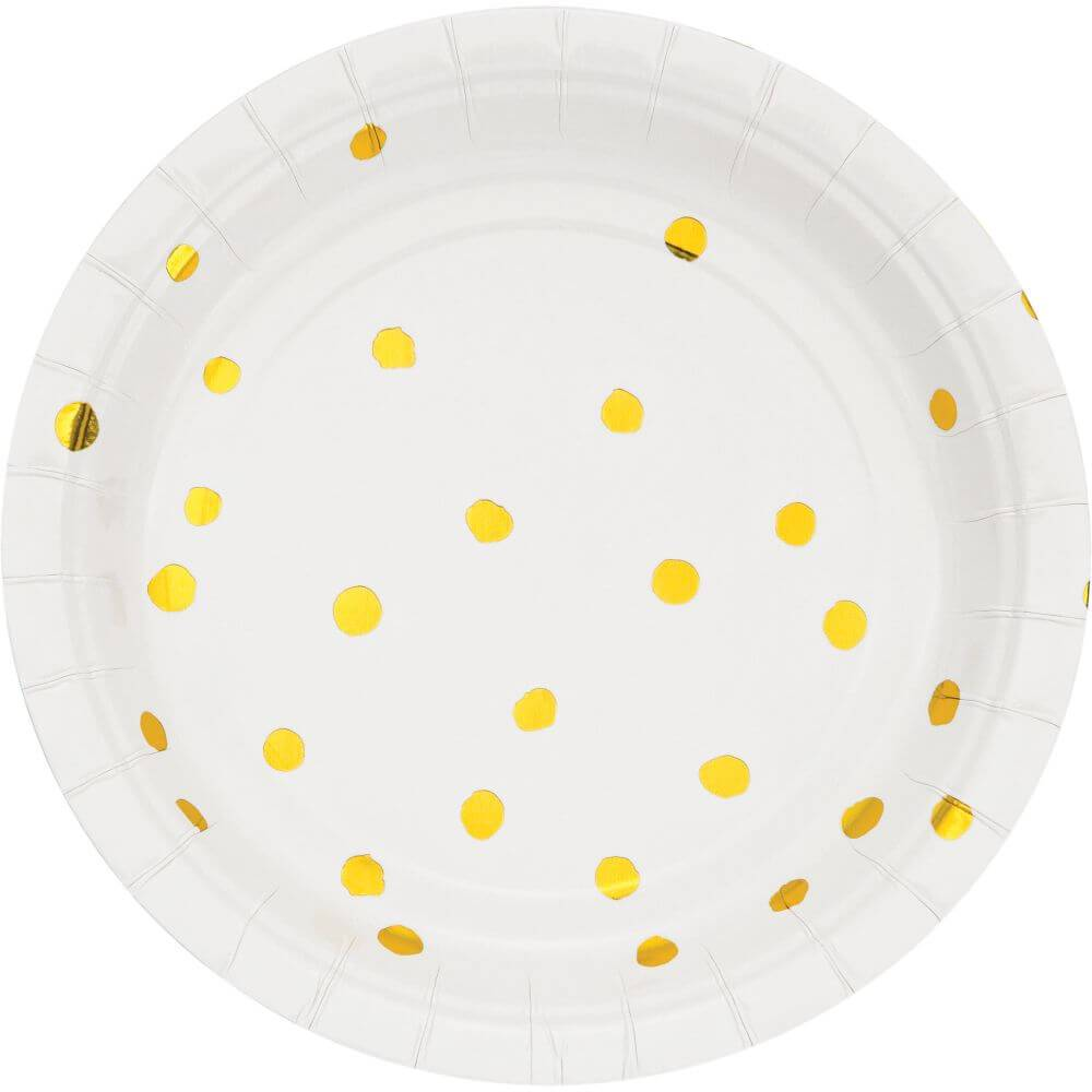 White Gold Dot Lunch Plate 7in 8ct