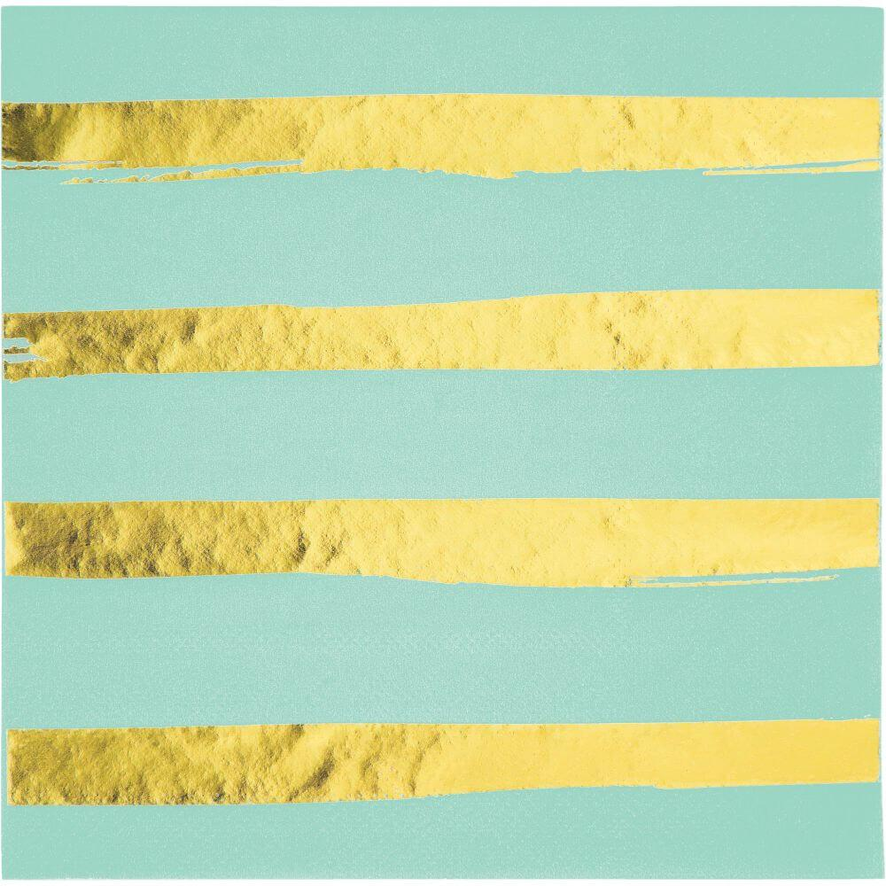 Foil Stripe Luncheon Napkin 3ply 16ct, Fresh Mint Gold